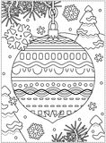Winter holidays coloring page with decorated ornament. Winter holidays coloring page for kids and grown-ups with decorated ornament, fir tree branches, snowbanks Royalty Free Stock Photos