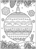 Winter holidays coloring page with decorated ornament. Winter holidays coloring page for kids and grown-ups with decorated ornament, fir tree branches, snowbanks Royalty Free Stock Photography