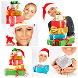 Winter holidays concept Christmas collage. Christmas collage, winter holidays concept with collection of colorful gift decorations & ornaments in the hands of Stock Images