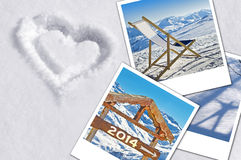 Winter holidays concept, heart in the snow Stock Images