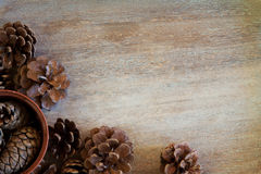 Winter holidays concept. On wooden background Royalty Free Stock Photo