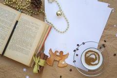 Winter holidays congratulations for bookworms Stock Photos