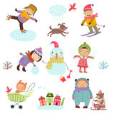 Winter holidays. Cute Illustration of kids playing outdoors in winter. Stock Photo