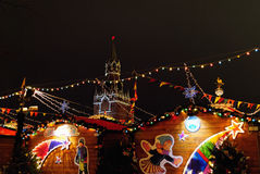Winter Holidays Decoration of Christmas Fair in Red Square, Moscow, Russia stock images