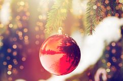Red christmas ball on fir tree branch with snow Royalty Free Stock Photography