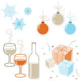 Winter holidays elements. Winter holiday illustration. Snowflakes, gifts, wine and baubles Royalty Free Stock Image