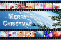 Winter Holidays Film Strip Background Royalty Free Stock Images