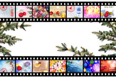 Winter Holidays Film Strip Background Stock Images