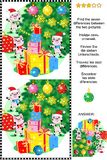 Winter holidays find the differences picture puzzle with pigs, gifts, christmas tree stock illustration