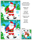 Winter holidays find the differences picture puzzle with Santa Klaus. New Year or Christmas visual puzzle: Find the seven differences between the two pictures of Stock Photo