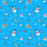 Winter holidays flat vector seamless pattern Royalty Free Stock Photos
