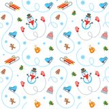 Winter holidays flat vector seamless pattern Stock Image