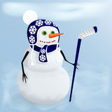 Winter Holidays fun. Christmas snowman. Royalty Free Stock Photo