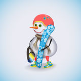 Winter Holidays fun. Christmas snowman. Royalty Free Stock Images