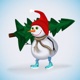 Winter Holidays fun. Christmas snowman. Stock Photo