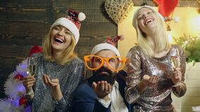 Winter holidays and funny people concept. Positive human emotions facial expressions.