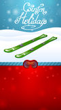 Winter holidays green skiing and red ski goggles Stock Images