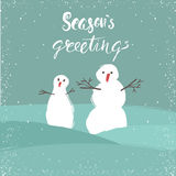 Winter holidays greeting card with hand drawn snowman. Unique handwritten Christmas lettering collection. Vector Illustration. Royalty Free Stock Photos