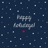Winter holidays greeting card with simple snowflakes  Royalty Free Stock Photography