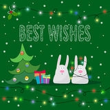 Winter holidays greeting card template with rabbits. Winter holidays greeting card template with funny rabbits Royalty Free Stock Images