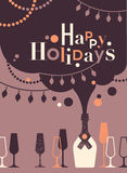 Winter holidays greeting text. Happy holidays greetings text made of retro glasses and bottles vector illustration