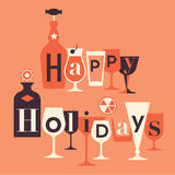 Winter holidays greeting text. Happy holidays greetings text made of retro glasses and bottles stock illustration