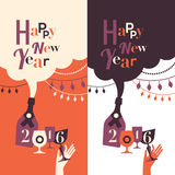 Winter holidays greeting text. Happy New Year greetings text made of retro glasses, hands and bottles vector illustration