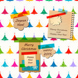 Winter holidays greetings notes. Greetings notes on a christmas trees seamless pattern Royalty Free Stock Photo