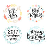 Winter holidays hand lettering set, isolated on white. Merry Christmas, Happy New Year, 2017 coming soon, Best Wishes. Typography design elements for greeting royalty free illustration