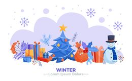 Free Winter Holidays Horizontal Banner - Various Christmas And New Year Symbols. Stock Photography - 129973012