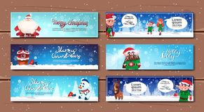 Winter Holidays Horizontal Banners With Cartoon Characters Merry Christmas And Happy New Year Cards. Flat Vector Illustration Stock Image