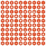 100 winter holidays icons hexagon orange Stock Photo
