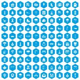 100 winter holidays icons set blue. 100 winter holidays icons set in blue hexagon isolated vector illustration Stock Photography