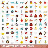 100 winter holidays icons set, flat style Royalty Free Stock Photography