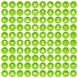 100 winter holidays icons set green. 100 winter holidays icons set in green circle isolated on white vectr illustration Stock Images
