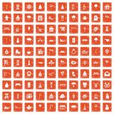 100 winter holidays icons set grunge orange. 100 winter holidays icons set in grunge style orange color isolated on white background vector illustration Stock Images