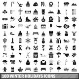 100 winter holidays icons set, simple style. 100 winter holidays icons set in simple style for any design vector illustration Stock Photography