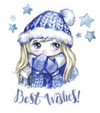 Winter holidays illustration. Watercolor cute girl with big eyes in warm clothes. New Year card. Best Wishes. Stock Images