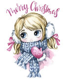Winter holidays illustration. Watercolor cute girl with big eyes in warm clothes. New Year card. Merry Christmas. Royalty Free Stock Photography