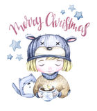 Winter holidays illustration. Watercolor kitty and little boy with a cup of hot drink. New Year card. Merry Christmas. Royalty Free Stock Photos