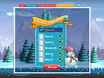 Winter holidays invite friends window for the computer game Royalty Free Stock Image