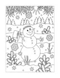 Coloring page with snowman walking outdoor royalty free illustration