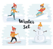 Winter holidays kids Royalty Free Stock Image