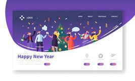 Winter Holidays Landing Page Template. Merry Christmas and Happy New Year Website Layout with Flat People Characters. Celebrating. Easy to Edit and Customize vector illustration