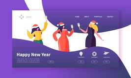 Winter Holidays Landing Page Template. Merry Christmas and Happy New Year Website Layout with Flat People Characters royalty free illustration