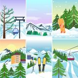 Winter holidays landscape vector illustration. Royalty Free Stock Images