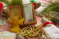 Winter holidays money gift Stock Image