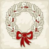 Winter Holidays Monochrome Holly Leaves Wreath Sea Royalty Free Stock Photography