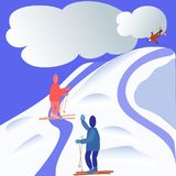 Winter holidays in mountains with family stock illustration