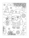 Coloring page with owl and christmas tree ornament royalty free illustration